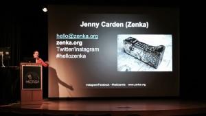 Artist and futurist Jenny Carden (A.K.A. Zenka) presenting at IMERSA
